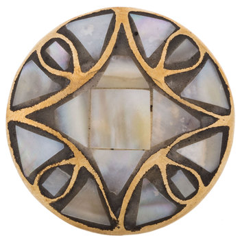 Brass Metal Knob with Capiz Shell Inlay